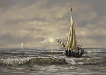 Paintings sea landscape. Fisherman, ship, boat. Digital paintings, fine art.