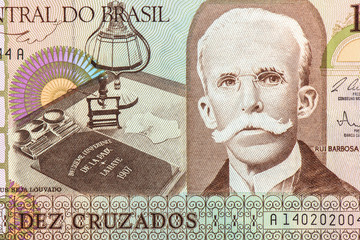 10 Brasilian cruzeiro Bank note. Cruzeiro is the former currency of Brasil. Close Up UNC Uncirculated - Collection.