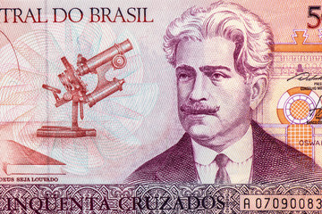 50 Brasilian cruzeiro Bank note. Cruzeiro is the former currency of Brasil. Close Up UNC Uncirculated - Collection.