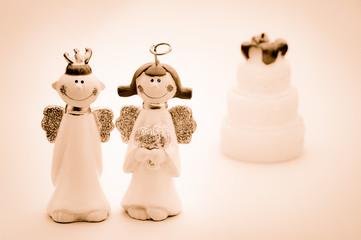 天使のカップル(セピア)