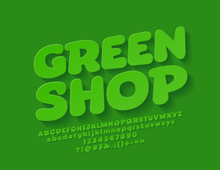 Vector Green Shop logo with Alphabet. Funny Bright Font with Shadow