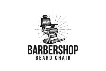 seat chair barber shop vintage hand drawn barber shop logo design inspiration