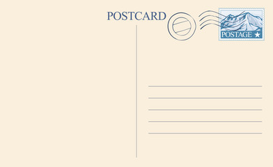 postcard back vector illustration