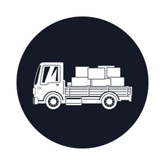 Small Cargo Truck with Boxes Icon, Delivery Services, Logistics, Shipping and Freight of Goods, Vector Illustration