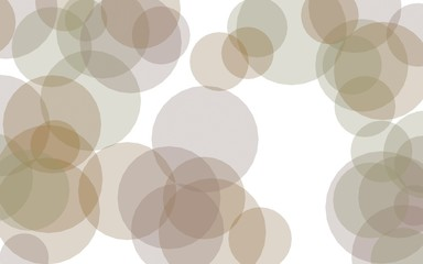 Multicolored translucent circles on a white background. Orange tones. 3D illustration