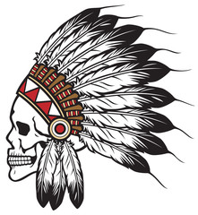 Native American Indian Chief Skull Vector Illustration