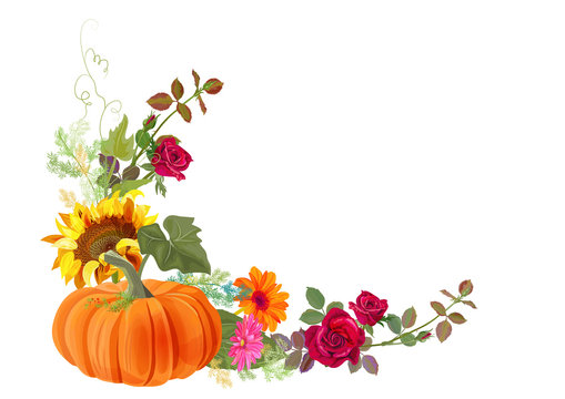 Angled autumn's frame with pumpkin: orange, yellow sunflowers, red roses, gerbera daisy flowers, thistle, small green twigs on white background. Digital draw, illustration in watercolor style, vector