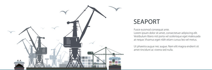 Cargo Sea Port Horizontal Banner, Unloading of Cargo Containers from the Container Carrier, Cranes and Vessels in Dock , Vector Illustration