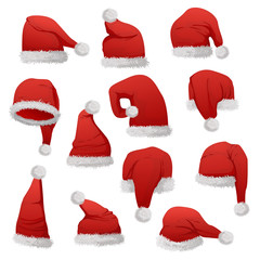Red Santa hats vector illustration isolated on white background.