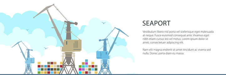 Cargo Cranes and Containers at the Seaport and Text, International Freight Transportation Banner, Vector Illustration