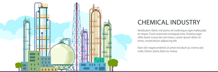 Banner of Petrochemical Industry, Chemical Plant , Refinery Processing of Natural Resources, Industrial Pipes and Text , Vector Illustration