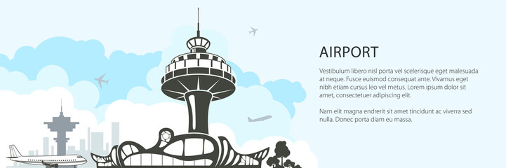Modern Airport Banner, Silhouette Control Tower and Airplane on the Background of the City ,Travel and Tourism Concept , Air Travel and Transportation, Vector Illustration