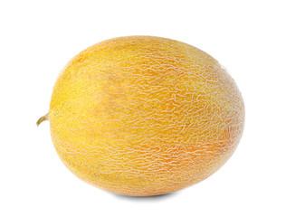 Whole tasty ripe melon on white background