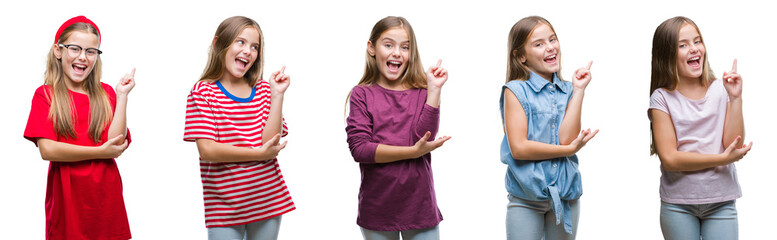 Collage of young beautiful little girl kid over isolated background with a big smile on face, pointing with hand and finger to the side looking at the camera.