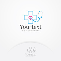 Health heart stethoscope logo design, Logo of heart health and body care with a stethoscope. Medical logo template