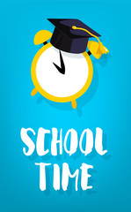 School time card with square academic cap and alarm. Vector banner.