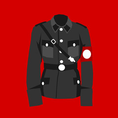 Nazi uniform - red field and historical clothes of military officer during world war two. Clothing of nazism. Vector illustration