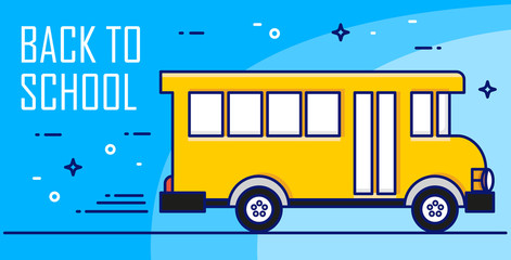Back to school card with yellow bus on blue background. Thin line flat design. Vector banner.