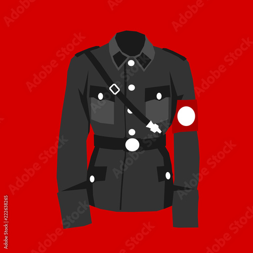 Nazi uniform - red field and historical clothes of military