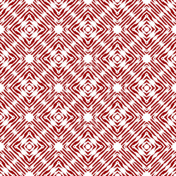 Vintage vector checked seamless pattern with brushed lines in red and white. Texture in ethnic painterly style.