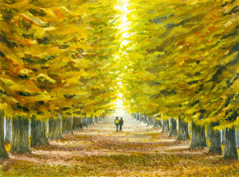 Watercolor illustration of the autumn landscape with a couple strolling through the old park