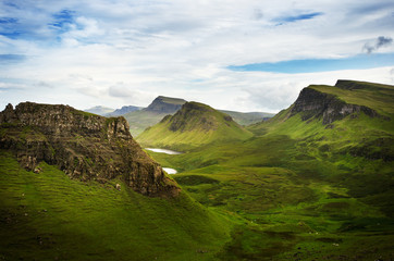 Tourists favourite place in Scotland - Isle of Skye. Scotland green nature. Top of the mountains. Beautiful nature. Scottish Highlands.