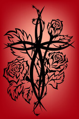 Cross and roses tribal tattoo
