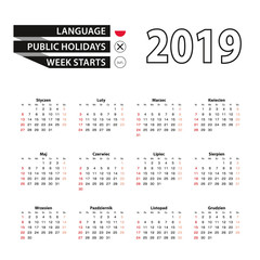 2019 calendar in Polish language, week starts from Sunday.