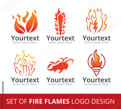 Set of fire flame logo, Collection of logo designs with fire symbol