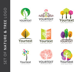 Set of nature and tree logo designs. Various of organic and nature logos, Plant logo template
