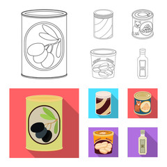 Isolated object of can and food logo. Collection of can and package vector icon for stock.