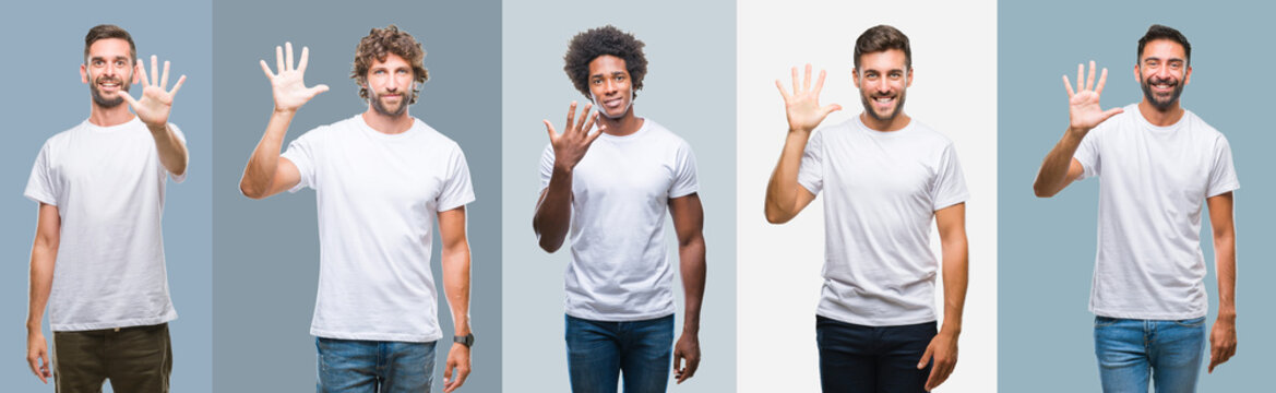 Collage of group of handsome hispanic, indian and arab men over vintage background showing and pointing up with fingers number five while smiling confident and happy.