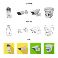 Vector illustration of cctv and camera logo. Collection of cctv and system vector icon for stock.
