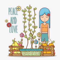 Hippie girl cartoon