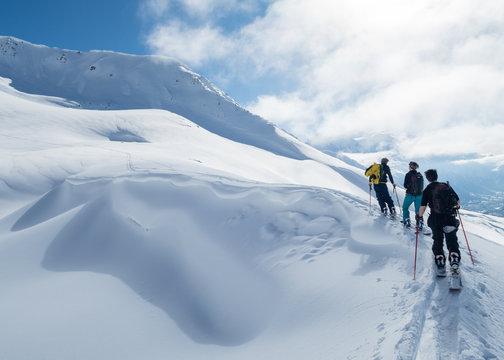 splitboarding close to summit over chamonix