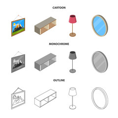 Vector illustration of bedroom and room symbol. Set of bedroom and furniture stock vector illustration.