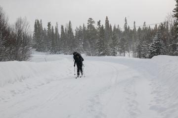 cross-country skier in heavy snowfall