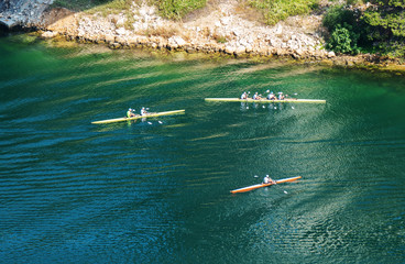 Group of kayakers in the lake. Aerial view.