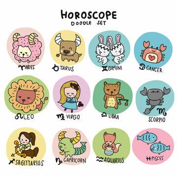 Cute horoscope doodle set cartoon vector illustration