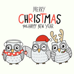 White Owl family Merry Christmas and Happy New Year cartoon vector illustration doodle style