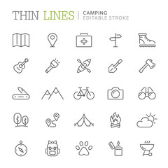 Collection of camping related line icons. Editable stroke