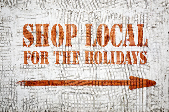 Shop local for the holidays graffiti