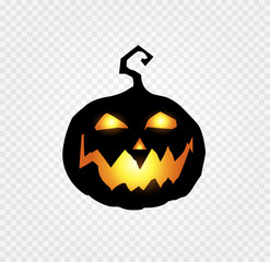scary and evil pumpkin jack o lantern with orange glowing face on transparent background