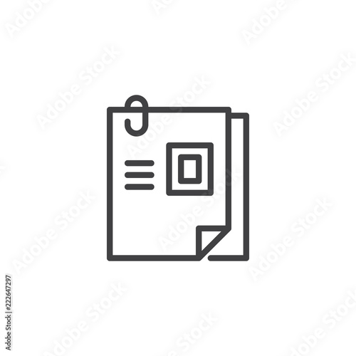 Curriculum Vitae Outline Icon Linear Style Sign For Mobile Concept