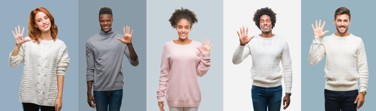 Collage of group of african american and hispanic people wearing winter sweater over vintage background showing and pointing up with fingers number five while smiling confident and happy.