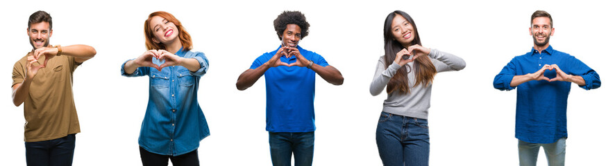 Composition of african american, hispanic and chinese group of people over isolated white background smiling in love showing heart symbol and shape with hands. Romantic concept.