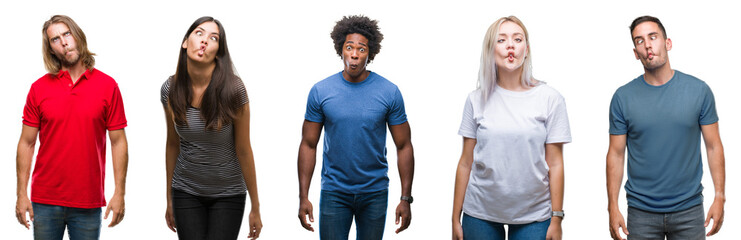 Composition of african american, hispanic and caucasian group of people over isolated white background making fish face with lips, crazy and comical gesture. Funny expression.
