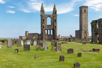 Graveyard with tombstones near ruin of St Andrews Cathedral ,Scotland