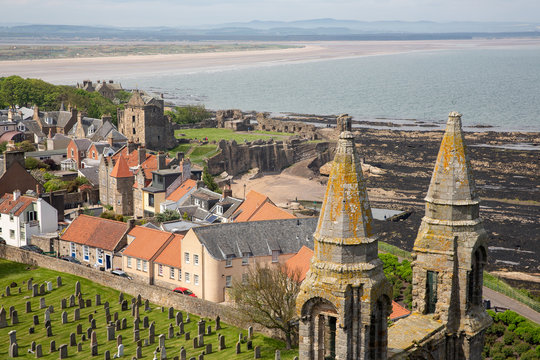 Aerial view Ruins and graveyard Cathedral of St Andrews, Scotland