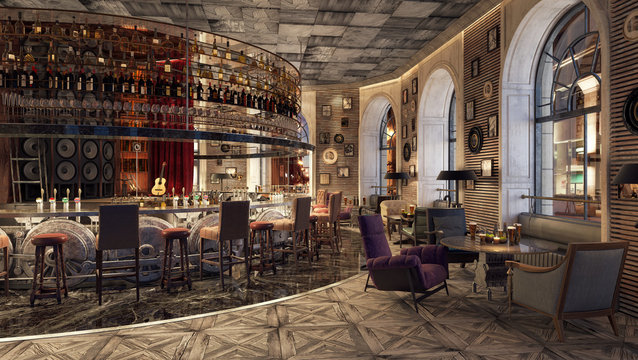 Modern Old Fashioned Restaurant Lounge Bar 3D Rendering